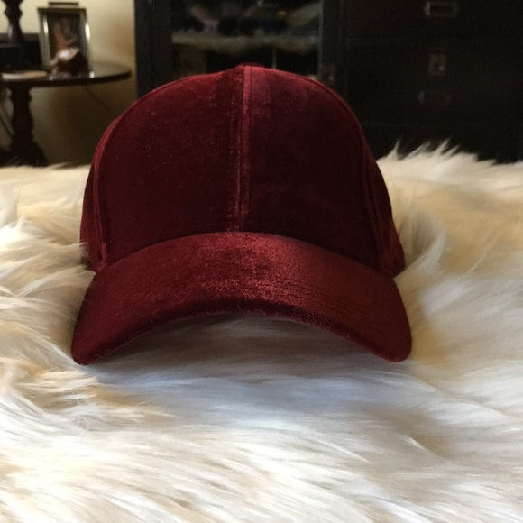 b3bd07fbb Burgundy velvet ball cap New with tags NWT